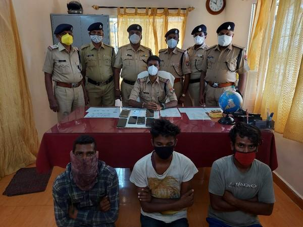 The three suspects with Government Railway Police, Kuppam
