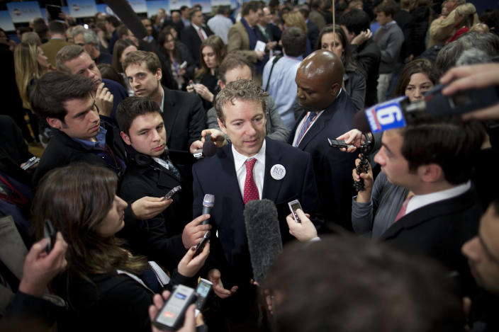 FILE - In this Saturday, Jan. 7, 2012 file photo, Sen. Rand Paul, R-Ky., speaks on behalf of his father, Republican presidential candidate Rep. Ron Paul of Texas, after the Republican presidential debate in Manchester, N.H. Something's going on in America this election year: a renaissance of an ideal as old as the nation itself - that live-and-let-live, get-out-of-my-business, individualism vs. paternalism dogma that is the hallmark of libertarianism. But what looms are far larger questions about whether an America fed up with government bans and government bailouts - with government, period - is seeing a return to its libertarian roots. (AP Photo/Evan Vucci)