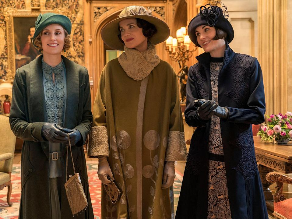 Laura Carmichael as Lady Hexham, Elizabeth McGovern as Lady Grantham and Michelle Dockery as Lady Mary Talbot in the first Downton Abbey film (Liam Daniel/Focus Features/Kobal/Shutterstock)