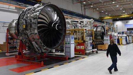 Rolls Royce Trent XWB engines, designed specifically for the Airbus A350 family of aircraft, are seen on the assembly line at the Rolls Royce factory in Derby
