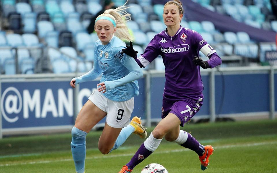 Manchester City's Chloe Kelly in action with Fiorentina's Greta Adami  - Reuters