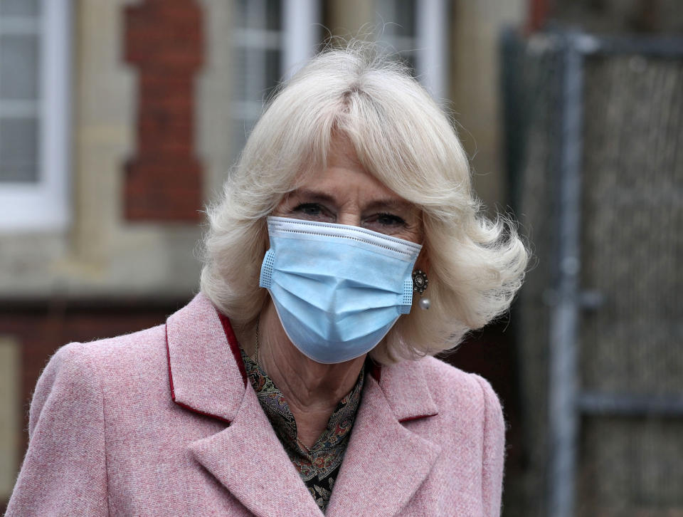 Britain's Camilla, Duchess of Cornwall wearing a protective face covering to combat the spread of the coronavirus, leaves after a visit to the Community Vaccination Centre at St Pauls Church in Croydon, in south London on March 3, 2021. - The Duchess met with NHS staff, clinicians, administrators, volunteer marshals and representatives from the church positioned throughout the church to support those receiving vaccines. (Photo by Steve Parsons / POOL / AFP) (Photo by STEVE PARSONS/POOL/AFP via Getty Images)