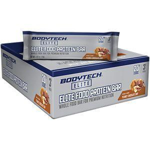 """<p><strong>BodyTech Elite</strong></p><p>vitaminshoppe.com</p><p><a href=""""https://go.redirectingat.com?id=74968X1596630&url=https%3A%2F%2Fwww.vitaminshoppe.com%2Fp%2Fwhole-food-bars-peanut-chocolate-chip-12-bar-s%2Fvs-3968&sref=https%3A%2F%2Fwww.menshealth.com%2Fnutrition%2Fg19519889%2Fbest-protein-bars-for-men%2F"""" rel=""""nofollow noopener"""" target=""""_blank"""" data-ylk=""""slk:BUY NOW"""" class=""""link rapid-noclick-resp"""">BUY NOW</a></p><p>At 330 calories per bar, it's a touch high on the caloric side, but if you're working out <em>hard</em>, this is the bar for you.</p>"""