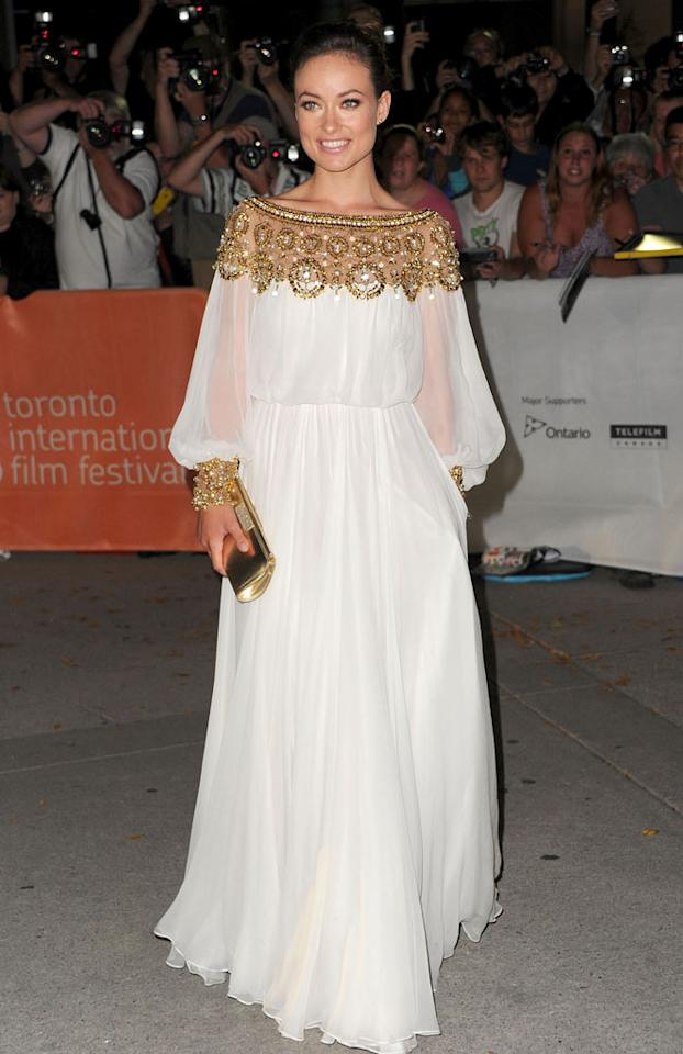 """Another """"Butter"""" beauty, Olivia Wilde, donned a Greecian gown for the evening. Do you think her look is hot ... or not? Alberto E. Rodriguez/<a href=""""http://www.gettyimages.com/"""" target=""""new"""">GettyImages.com</a> - September 13, 2011"""