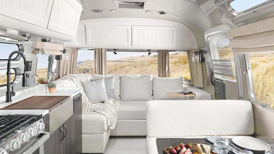 Airstream Pottery Barn Special Edition travel trailer comes with an L-shaped section worthy of a condo. - Credit: Airstream