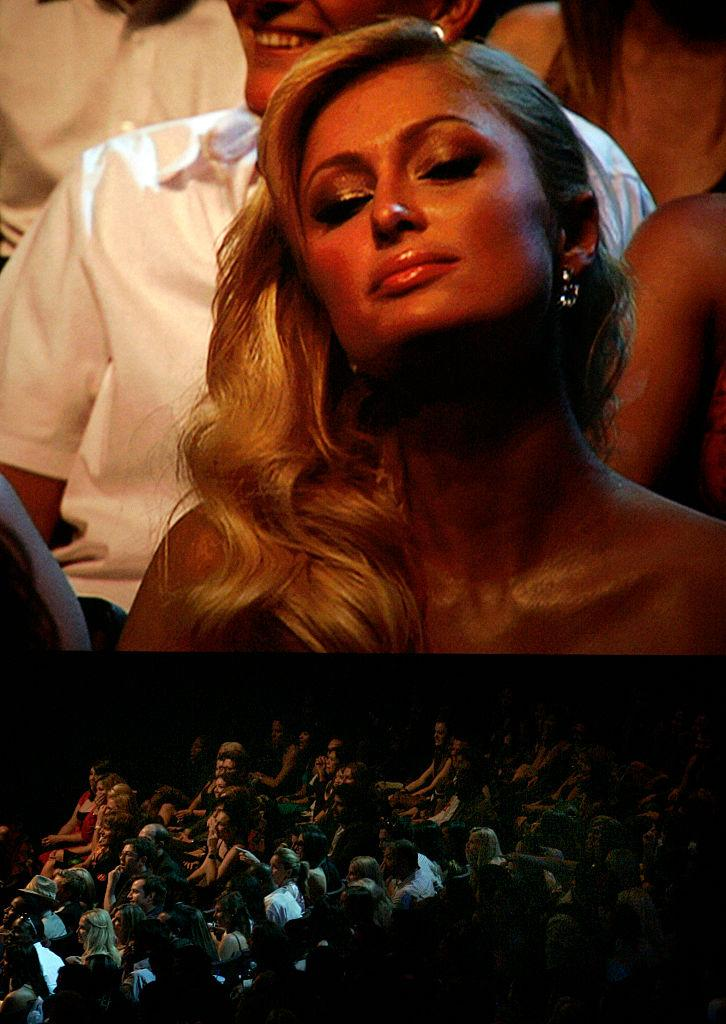 Paris Hilton is projected on a big screen above the audience after Sarah Silverman's jokes about her at the 2007 MTV Movie Awards. (Photo: Stephen Osman/Getty Images)