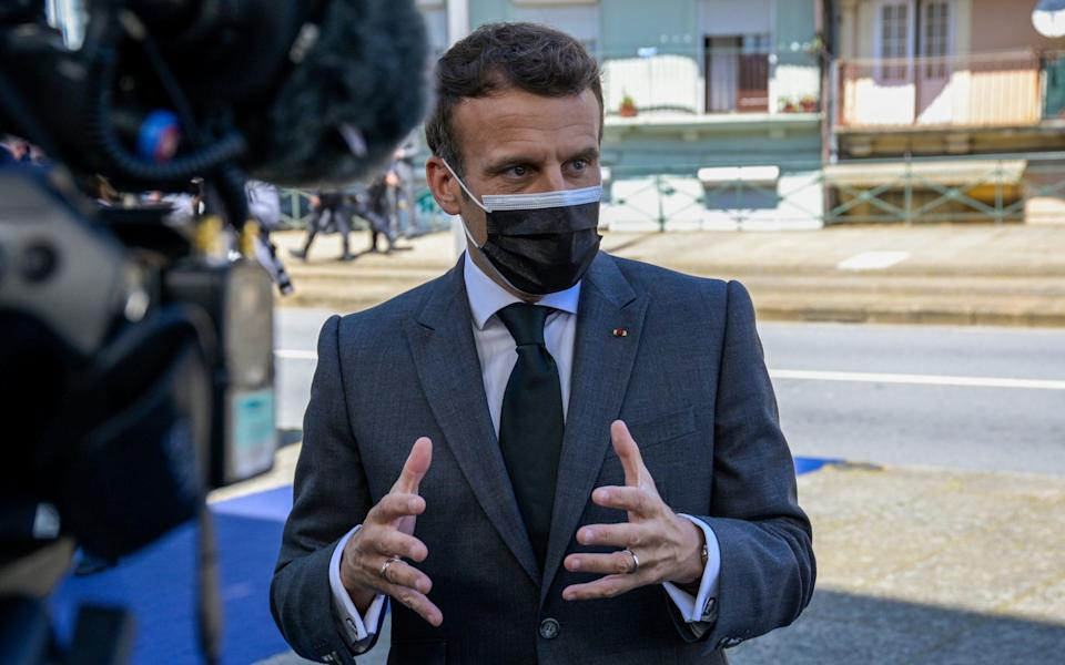 The French president arriving at the EU summit in Porto. - Getty Images Europe