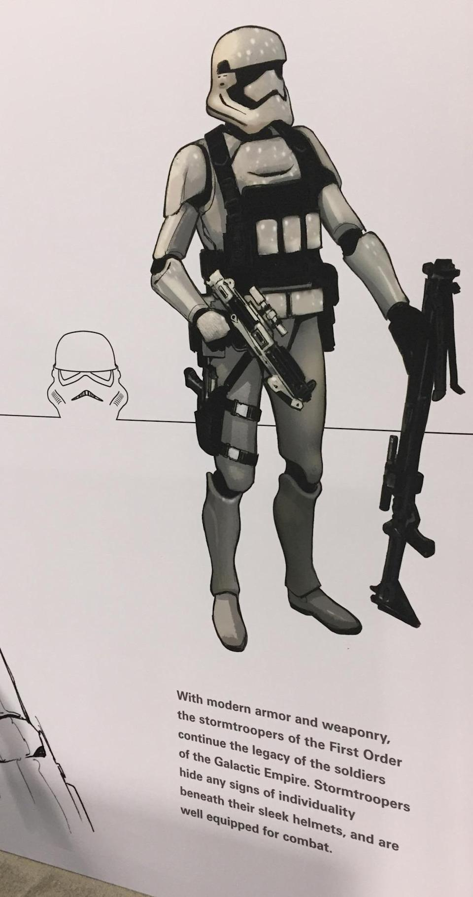 """<p>The caption reads: """"With modern armor and weaponry, the stormtroopers of the First Order continue the legacy of the soldiers of the Galactic Empire. Stormtroopers hide any signs of individuality beneath their sleek helmets, and are well equipped for combat.""""</p>"""