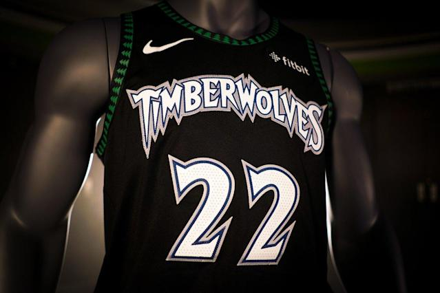"The <a class=""link rapid-noclick-resp"" href=""/nba/teams/min"" data-ylk=""slk:Minnesota Timberwolves"">Minnesota Timberwolves</a> are bringing back their 1990s pine tree uniforms for five throwback games during the 2018-19 season. (Twitter/@Timberwolves)"