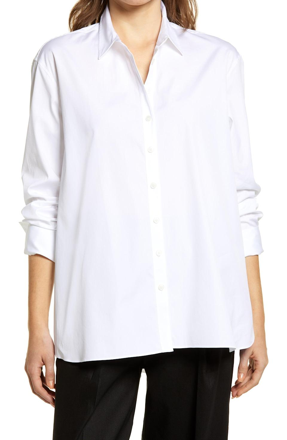 """<p><strong>NORDSTROM</strong></p><p>nordstrom.com</p><p><a href=""""https://go.redirectingat.com?id=74968X1596630&url=https%3A%2F%2Fwww.nordstrom.com%2Fs%2Fnordstrom-everyday-poplin-shirt%2F5727234&sref=https%3A%2F%2Fwww.harpersbazaar.com%2Ffashion%2Ftrends%2Fg36946278%2Fnordstrom-anniversary-sale-fashion%2F"""" rel=""""nofollow noopener"""" target=""""_blank"""" data-ylk=""""slk:Shop Now"""" class=""""link rapid-noclick-resp"""">Shop Now</a></p><p><strong>Sale: $46</strong></p><p><strong>After Sale: $69 </strong></p><p>In case you missed it, it's <a href=""""https://www.harpersbazaar.com/fashion/fashion-week/g34074135/spring-2021-fashion-trends/"""" rel=""""nofollow noopener"""" target=""""_blank"""" data-ylk=""""slk:passé"""" class=""""link rapid-noclick-resp"""">passé</a> to refer to oversized poplin shirts as being borrowed from your 'boyfriend.' (At long last.) Here, an elevated basic that can be paired with everything from leather pants to loose trousers. </p>"""