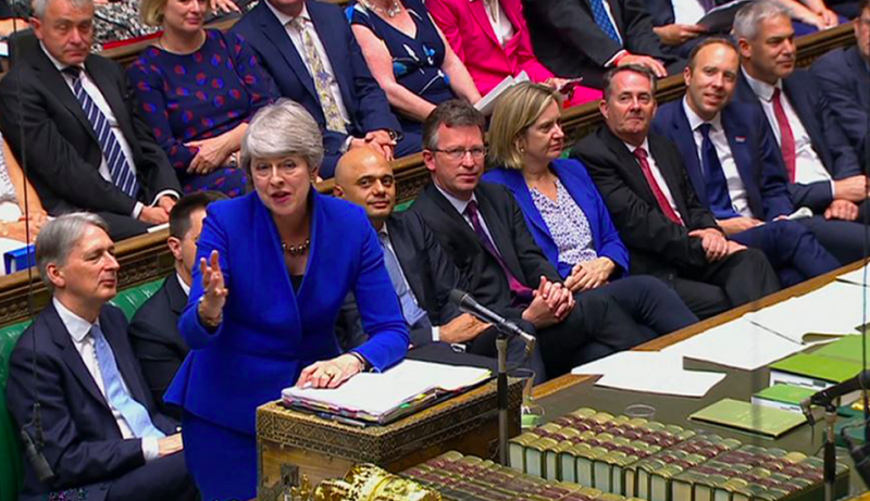 Theresa May and Jeremy Corbyn clashed in today's final PMQs (GETTY)