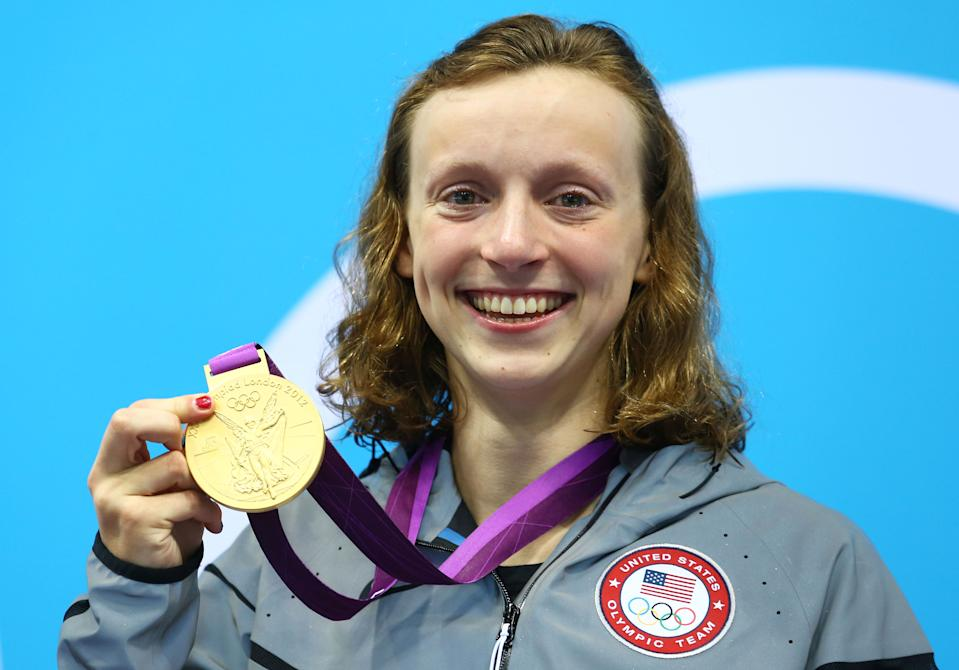 """Gold medalist <a href=""""http://sports.yahoo.com/olympics/swimming/katie-ledecky-1132407/"""" data-ylk=""""slk:Katie Ledecky"""" class=""""link rapid-noclick-resp"""">Katie Ledecky</a> of the United States poses on the podium during the medal ceremony for the Women's 800m Freestyle on Day 7 of the London 2012 Olympic Games at the Aquatics Centre on August 3, 2012 in London, England. (Photo by Al Bello/Getty Images)"""