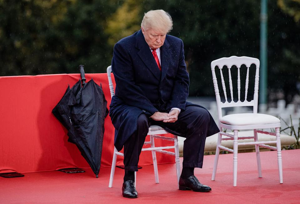 President Donald Trump pauses during the American Commemoration Ceremony at the Suresnes American Cemetery in Paris, France, in 2018.