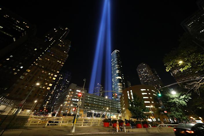 <p>The Tribute in Light is seen near the Battery Tunnel, Sept. 5, 2018. (Photo: Gordon Donovan/Yahoo News) </p>