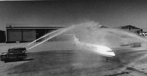The water canon salute has long been a ritual for new planes - Credit: getty