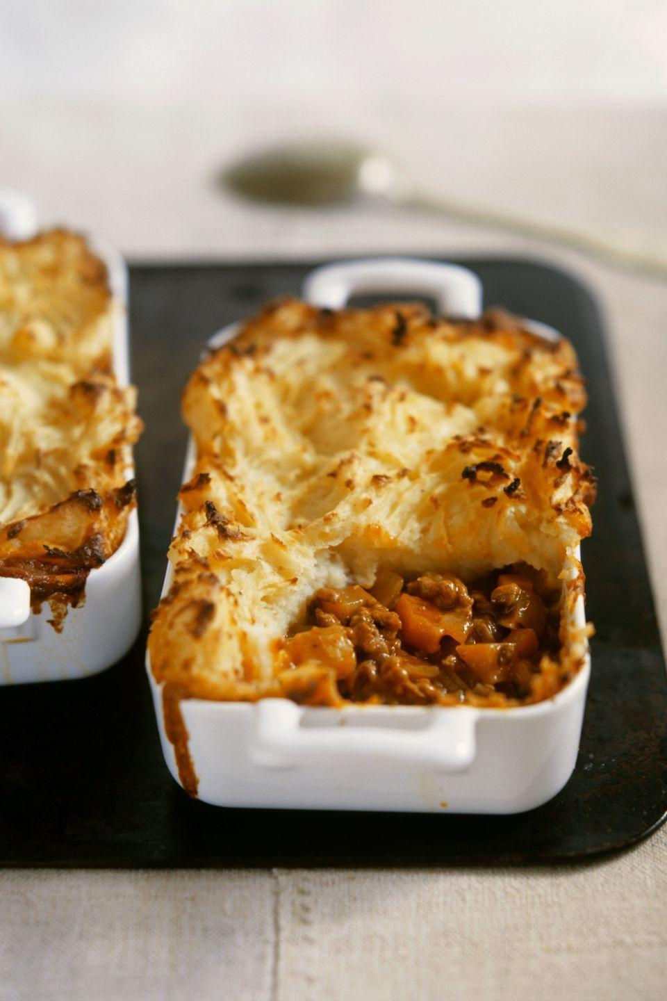 """<p>This is the quintessential comfort food, with layers of veggies and mashed potatoes. For a leaner option, use ground turkey instead of the traditional lamb or beef.</p><p><strong><a href=""""https://www.countryliving.com/food-drinks/recipes/a9078/shepherds-pie-2482/"""" rel=""""nofollow noopener"""" target=""""_blank"""" data-ylk=""""slk:Get the recipe"""" class=""""link rapid-noclick-resp"""">Get the recipe</a>.</strong></p>"""
