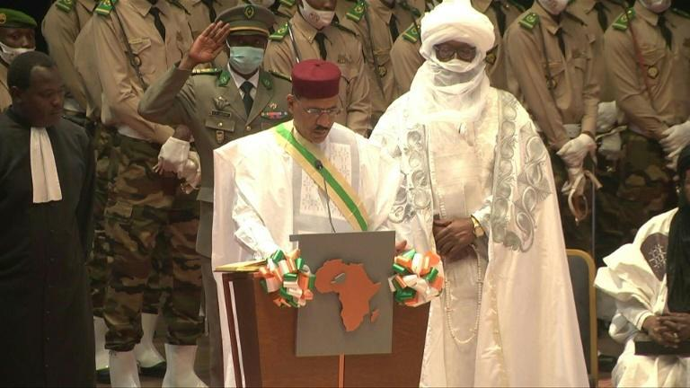 Niger's newly-elected president Mohamed Bazoum is sworn into office