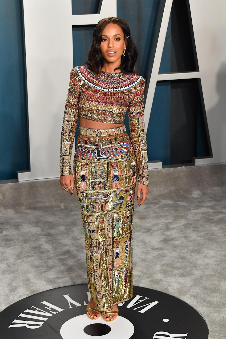 """<p>From the looks of this Zuhair Murad ensemble for <a class=""""link rapid-noclick-resp"""" href=""""https://www.popsugar.com/Kerry-Washington"""" rel=""""nofollow noopener"""" target=""""_blank"""" data-ylk=""""slk:Kerry Washington"""">Kerry Washington</a>, Roach has a thing for two-pieces, and they work every time.</p>"""