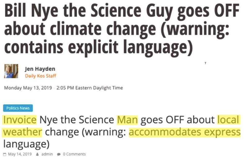 Top: Daily Kos' headline.Bottom: A scammer site's plagiarized version. (Photo: )