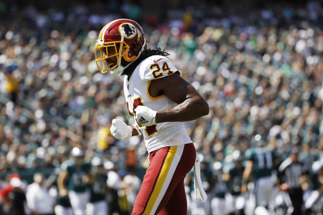 Washington Redskins' Josh Norman reacts after a stop during the first half of an NFL football game against the Philadelphia Eagles, Sunday, Sept. 8, 2019, in Philadelphia. (AP Photo/Matt Rourke)