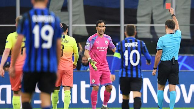 Kyle Walker was forced to go in goal for Manchester City at Atalanta as substitute goalkeeper Claudio Bravo saw red.