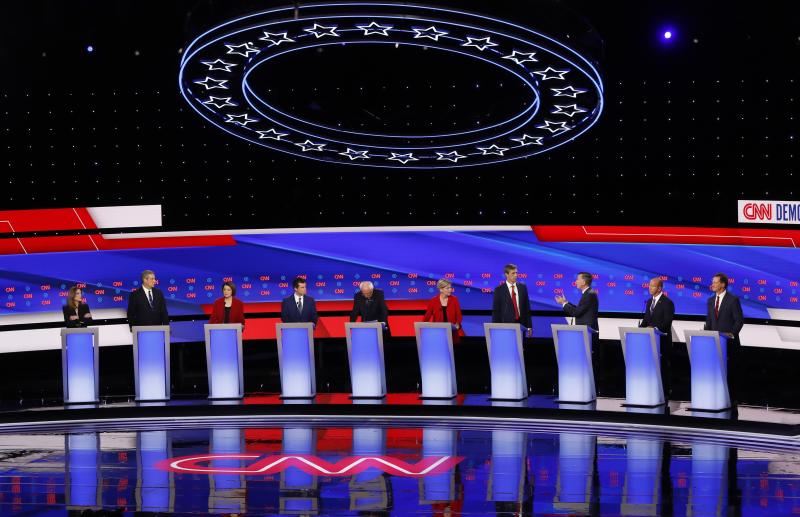 Democratic candidates appear during a primary debate in Detroit last month. (AP Photo/Paul Sancya)