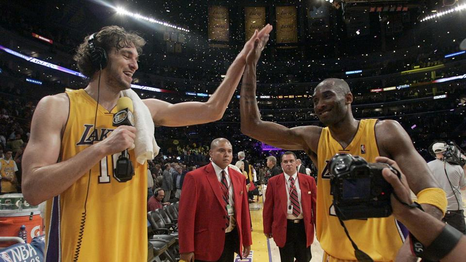 LOS ANGELES, CA - JANUARY 26:   Lakers Kobe Bryant #24 and Pau Gasol #16 as the Lakers beat the Nuggets 103-94 during game five of a Western Conference final playoff basketball game between the Denver Nuggets and the Los Angeles Lakers at the Staples Center on Wednesday May 27, 2009 in Los Angeles. (Photo by Keith Birmingham, Pasadena Star-News/SCNG)