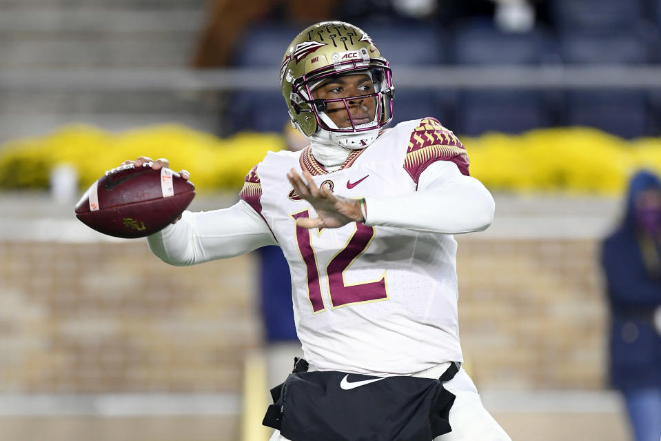 Just one day after Deondre Francois was dismissed from Florida State, his ex-girlfriend walked back her initial accusations of abuse. (Robin Alam/Getty Images)