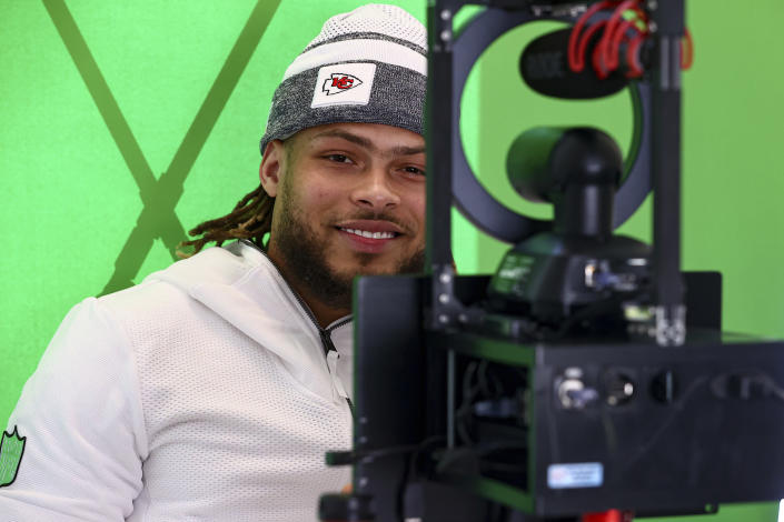 Kansas City Chiefs safety Tyrann Mathieu (32) during Super Bowl media night, Monday, Feb. 1, 2021, in Tampa, Fla. The Chiefs will face the Tampa Bay Buccaneers in Super Bowl 55. (Steve Sanders/Kansas City Chiefs via AP)