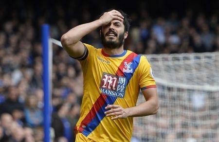 Crystal Palace's James Tomkins looks dejected