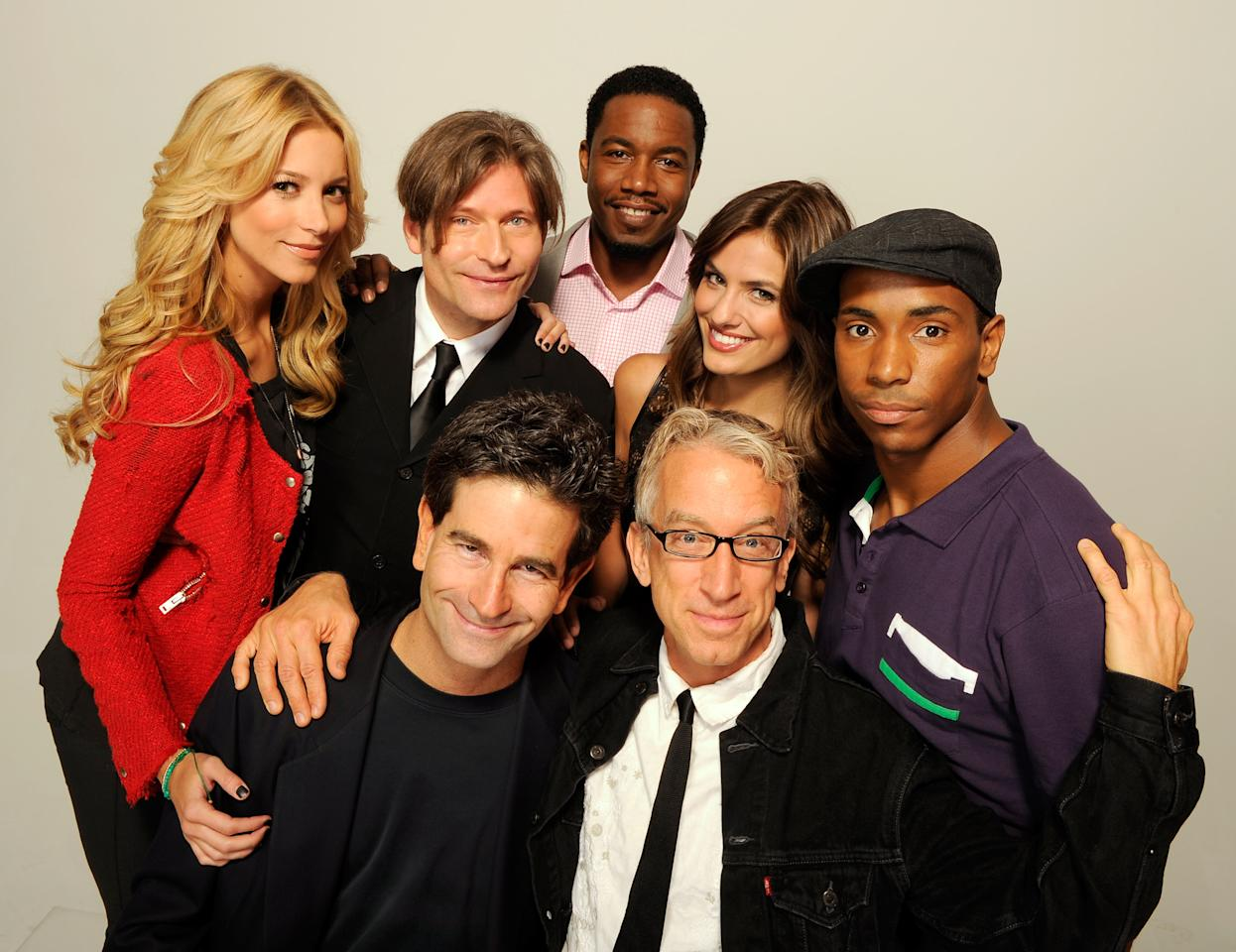 NEW YORK, NY - APRIL 22:  Actress Sabina Gadecki, actor Crispin Glover, writer/director Charles Matthau, actor Michael Jai White, actor Andy Dick, actress Breanne Racano and actor Leonard Robinson of the film 'Freaky Deaky' visits the Tribeca Film Festival 2012 portrait studio at the Cadillac Tribeca Press Lounge on April 22, 2012 in New York City.  (Photo by Larry Busacca/Getty Images)