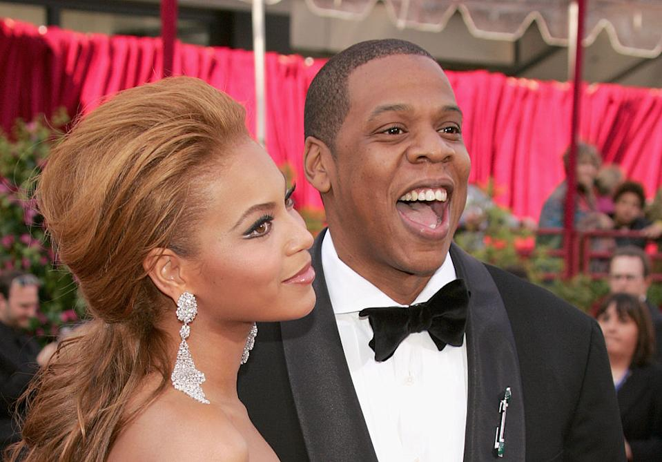 At the 2005 Oscars, Beyonce and then-boyfriend, now-husband Jay-Z were seen laughing their way along the red carpet. <em>[Photo: Getty]</em>