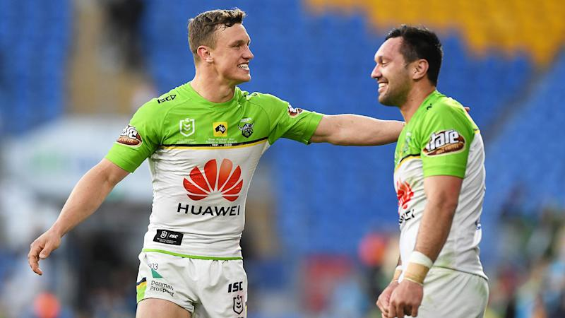 Pictured left, Jack Wighton scored two tries in the Raiders' win over the Titans.