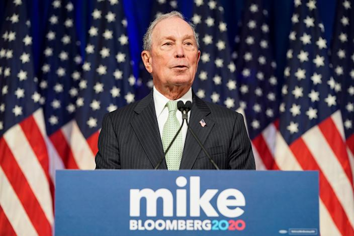 Democratic U.S. presidential candidate Michael Bloomberg addresses a news conference after launching his presidential bid in Norfolk, Virginia, U.S., November 25, 2019. REUTERS/Joshua Roberts     TPX IMAGES OF THE DAY