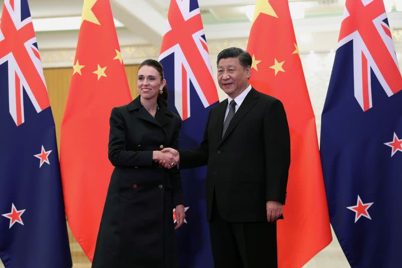 FILE PHOTO: New Zealand Prime Minister Jacinda Ardern meets Chinese President Xi Jinping in Beijing