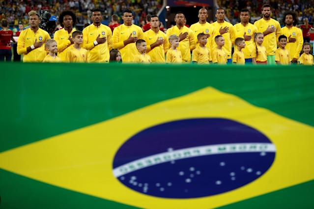 Soccer Football - World Cup - Group E - Brazil vs Switzerland - Rostov Arena, Rostov-on-Don, Russia - June 17, 2018 General view of the Brazil players during the national anthem before the match REUTERS/Damir Sagolj