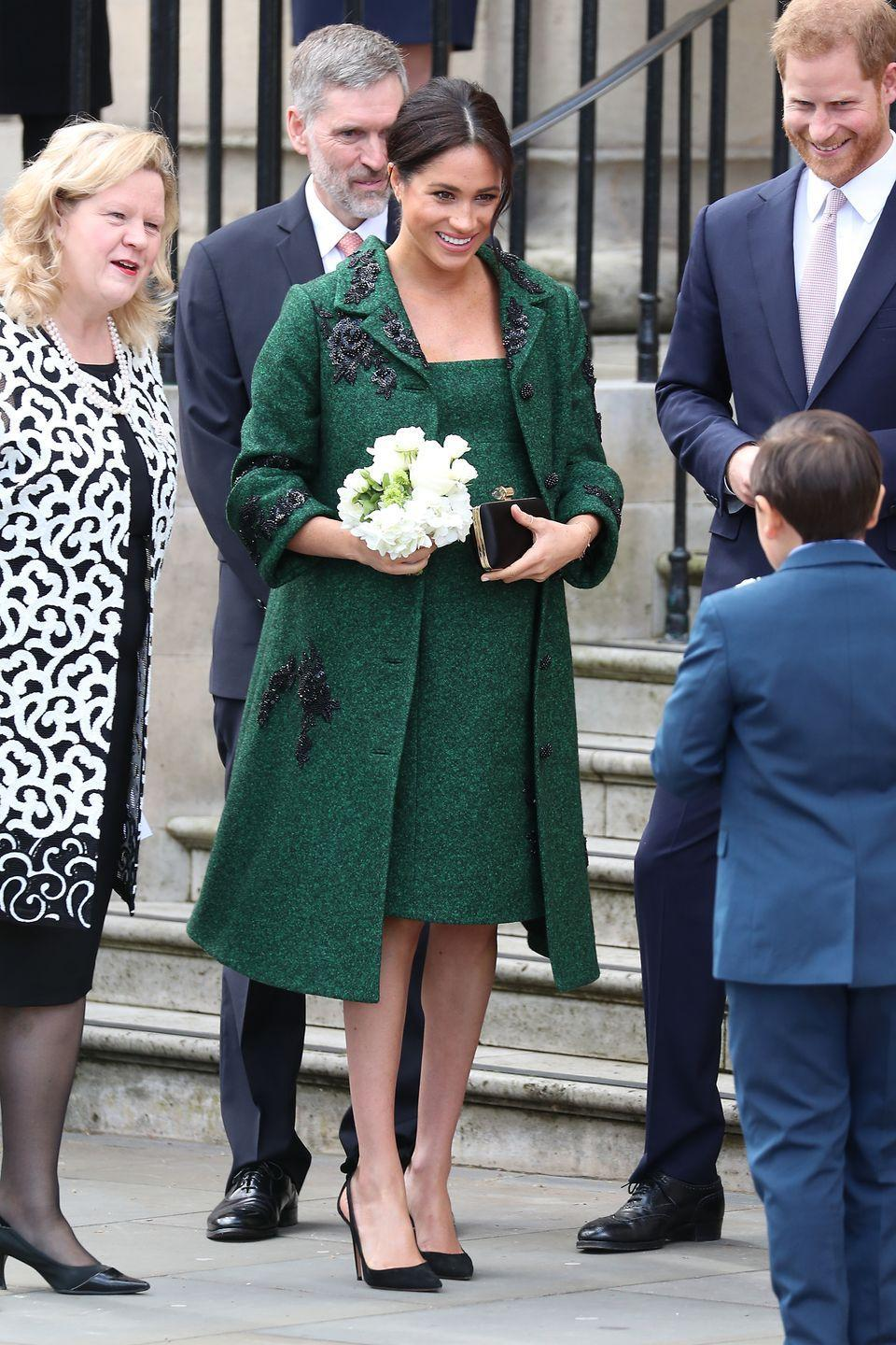 """<p>Though the Duchess went in a very different direction when it came to royal maternity style, some looks did inspire comparisons. One such ensemble: The beautiful coat and dress she wore on a visit to Canada House on Commonwealth Day, which <a href=""""https://www.townandcountrymag.com/style/fashion-trends/g22529658/meghan-markle-princess-diana-dressed-alike/?slide=1"""" rel=""""nofollow noopener"""" target=""""_blank"""" data-ylk=""""slk:was reminiscent"""" class=""""link rapid-noclick-resp"""">was reminiscent</a> of a green maternity ensemble worn by Princess Diana.</p>"""