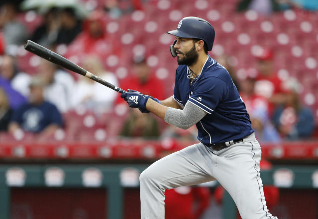 Eric Hosmer lacks the pop you want from your fantasy first baseman. (AP Photo/Gary Landers)
