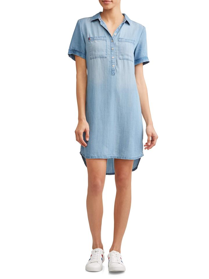 """<strong>EV1 from Ellen DeGeneres</strong><br>walmart.com<br><strong>$24.00</strong><br><a href=""""https://fave.co/2EUPo0X"""" rel=""""nofollow"""">Shop Now</a><br>Light denim is the perfect, go-with-anything material. Consider it the slightly dressier, warm weather version of your favorite pair of <a href=""""https://www.womansday.com/style/fashion/a25603491/best-high-waisted-jeans-women/"""" rel=""""nofollow"""">jeans</a>."""