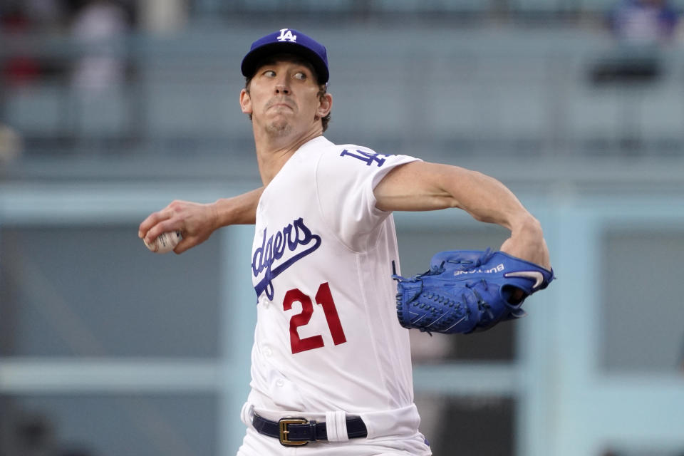 Los Angeles Dodgers starting pitcher Walker Buehler throws to the plate during the first inning of a baseball game against the San Francisco Giants Tuesday, June 29, 2021, in Los Angeles. (AP Photo/Mark J. Terrill)