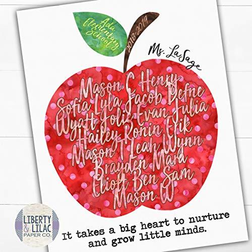 GIFT FOR TEACHER, Daycare Gift, Inspirational Quote for Teacher, Apple, Students Names, Teachers Who Love Teaching, PERSONALIZED Classroom Art, UNFRAMED Poster Print, Teacher Quotes, Class Gift (Amazon / Amazon)