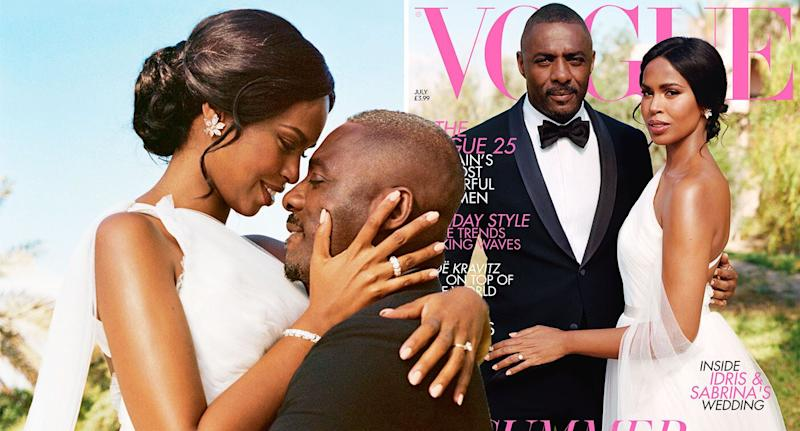 Idris Elba and his new wife Sabrina on the front of British Vogue. [Photo: Sean Thomas/British Vogue]