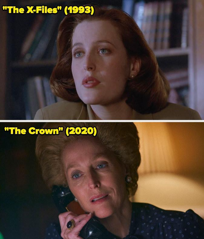 Then: She played FBI special agent Dana Scully on The X-Files.Now: She won the Emmy forOutstanding Supporting Actress in a Drama Series for her portrayal of Margaret Thatcher on The Crown.