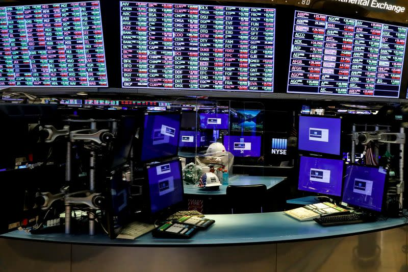 FILE PHOTO: Dividers are seen inside a trading post on the trading floor as preparations are made for the return to trading at the NYSE