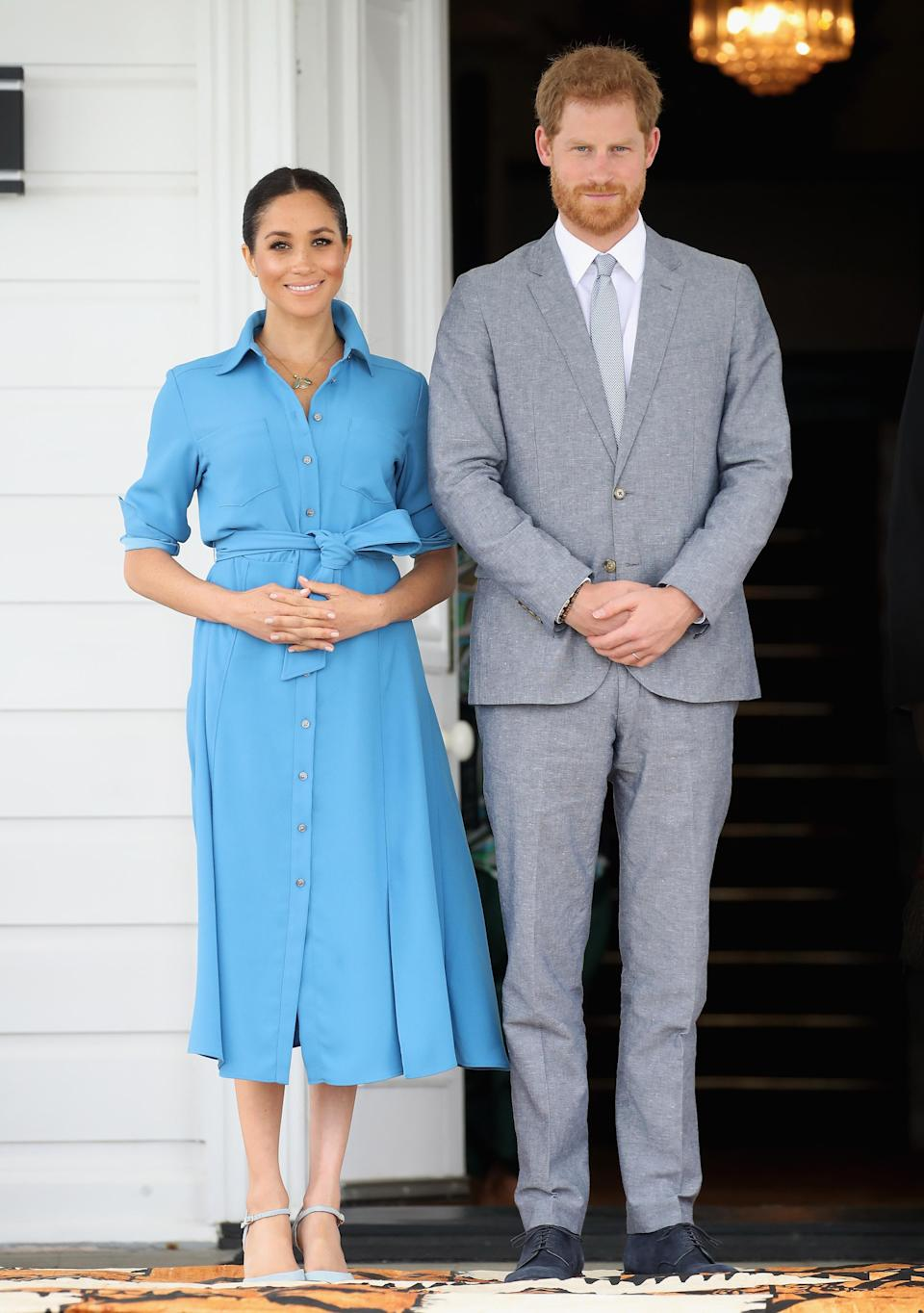 <p>On October 26, the Duchess of Sussex wore a $595 (approx £465) Veronica Beard shirt dress for a trip to Tupou College and Toloa rainforest. She teamed the look with Aquazurra heels – which promptly sold out online. <em>[Photo: Getty]</em> </p>