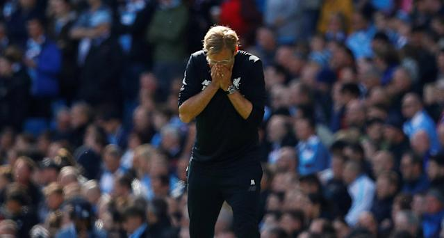 <p>Liverpool manager Jurgen Klopp cannot believe his side have fallen behind </p>