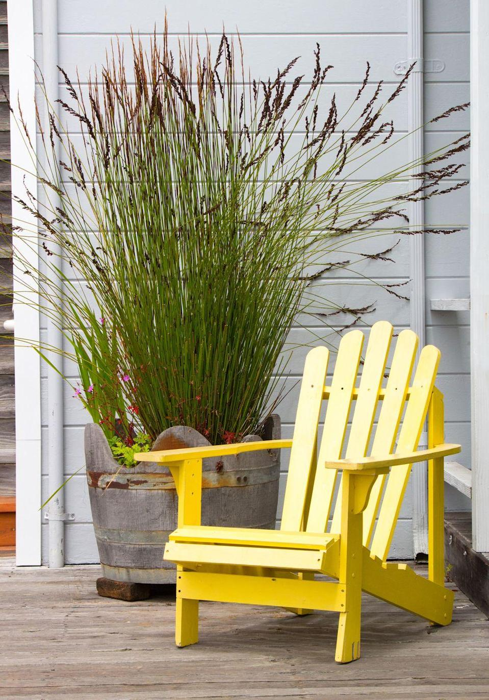 <p>With warmer weather on the horizon, it's time to get your outdoor furniture ready for lounging. To do this, add a squirt of dish detergent to a bowl of warm water, then wipe down tables and chairs. Spray them down with water and then let air dry.</p>