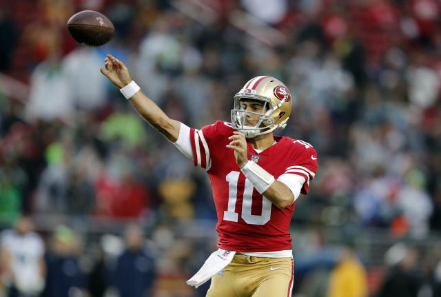 All eyes will be on quarterback Jimmy Garoppolo this weekend as he makes his first start with the San Francisco 49ers. (AP Photo/John Hefti)