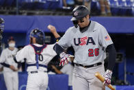 United States' Triston Casas walks to the dugout after striking out in the ninth inning of a baseball game against Japan at the 2020 Summer Olympics, Monday, Aug. 2, 2021, in Yokohama, Japan. (AP Photo/Sue Ogrocki)