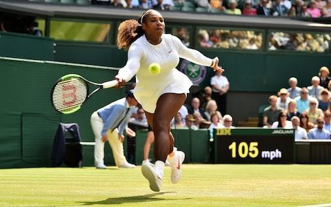 <span>Serena Williams chases down a forehand</span> <span>Credit: AFP </span>